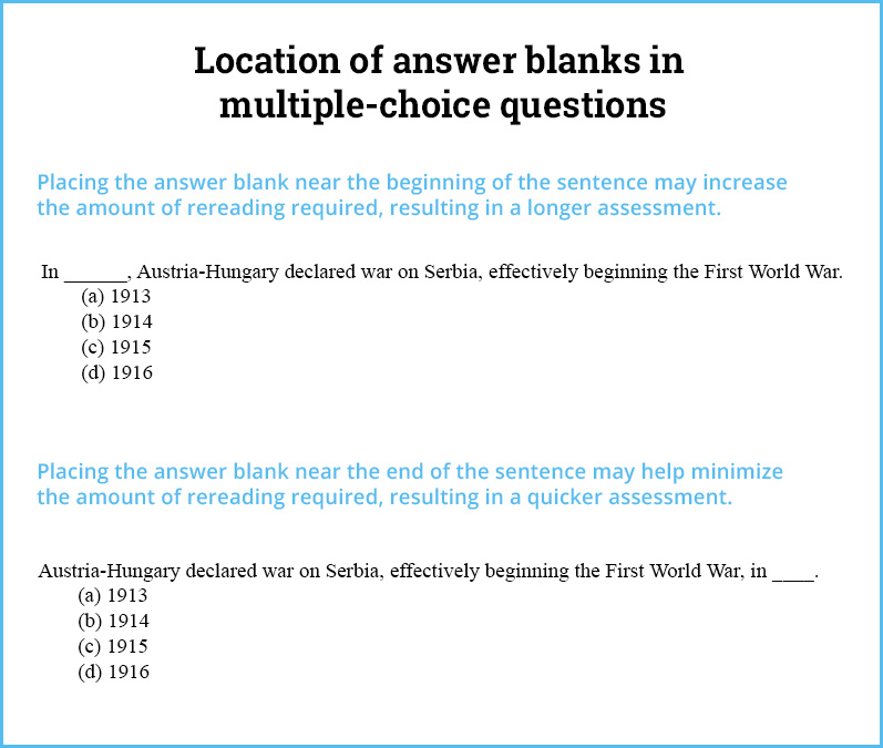 Location of Answer Blanks in Multiple-Choice Questions